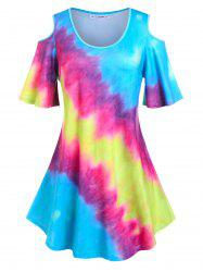 Plus Size Flare Sleeve Tie Dye Cold Shoulder Tee -