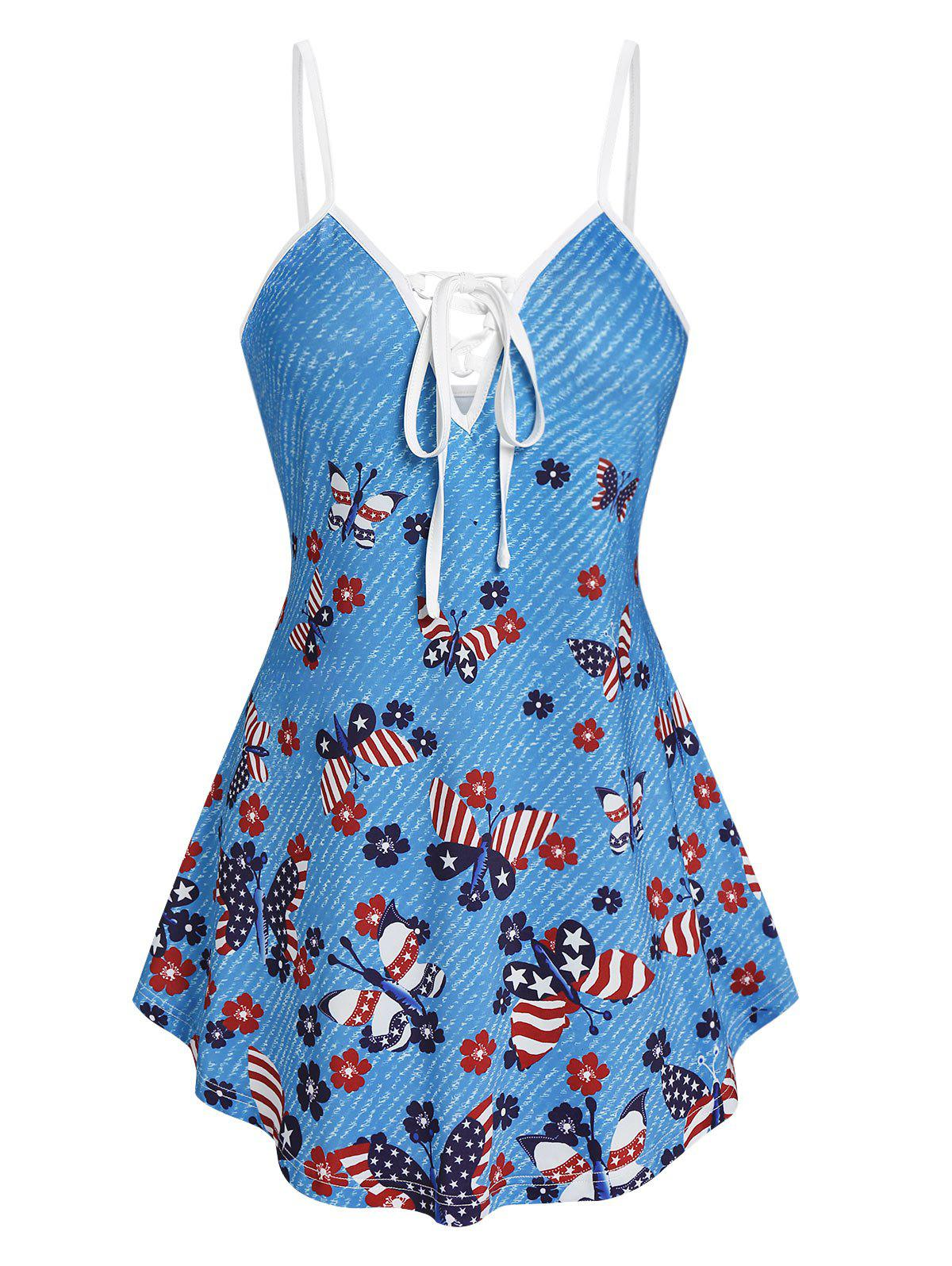 Latest Star And Striped Butterfly Print Cami Tank Top