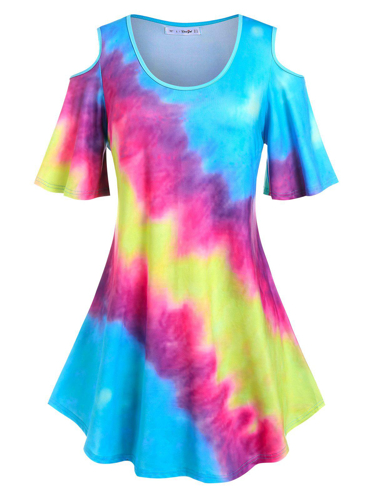 Discount Plus Size Flare Sleeve Tie Dye Cold Shoulder Tee