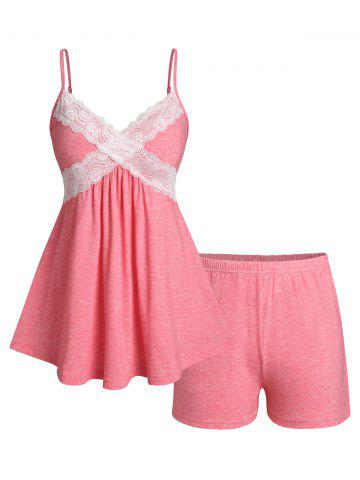 Plus Size Lace Panel Pajama Cami Skirted Top and Shorts Set - LIGHT PINK - 3X