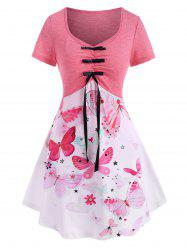 Flower Butterfly Heart Print Ruched Bowknot T Shirt -