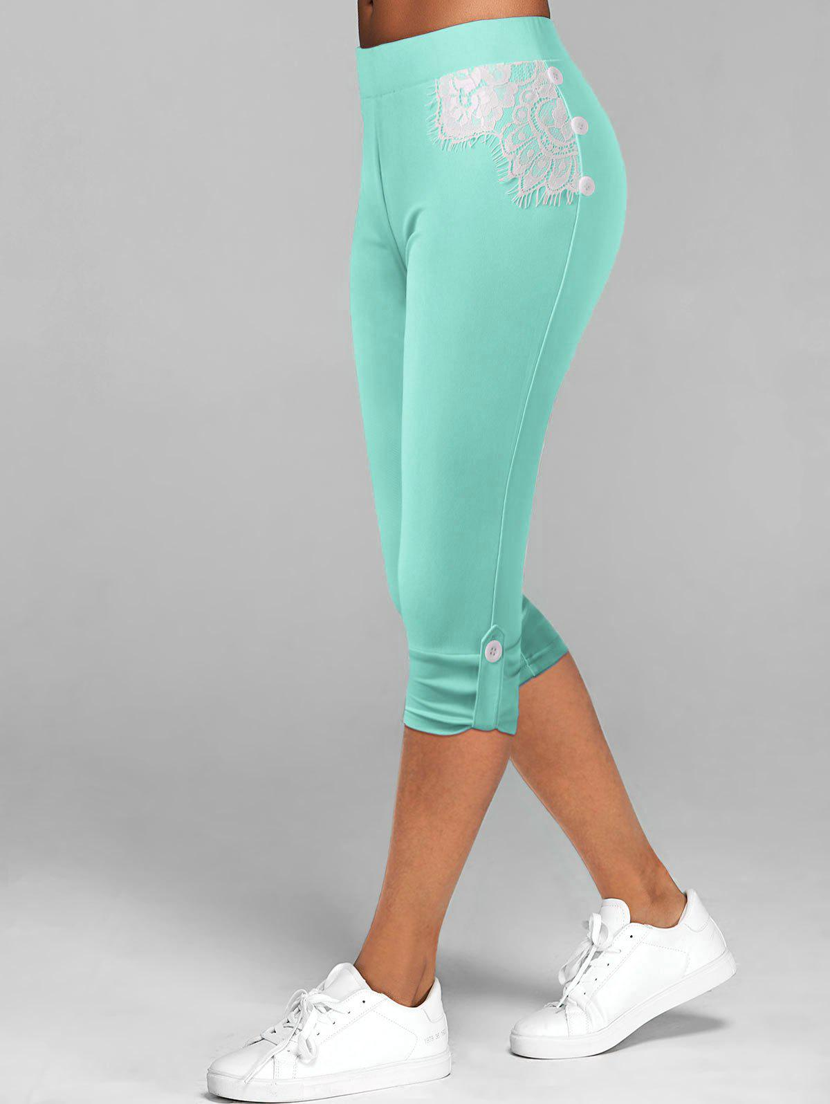Store Lace Insert Button Tab Crop Leggings