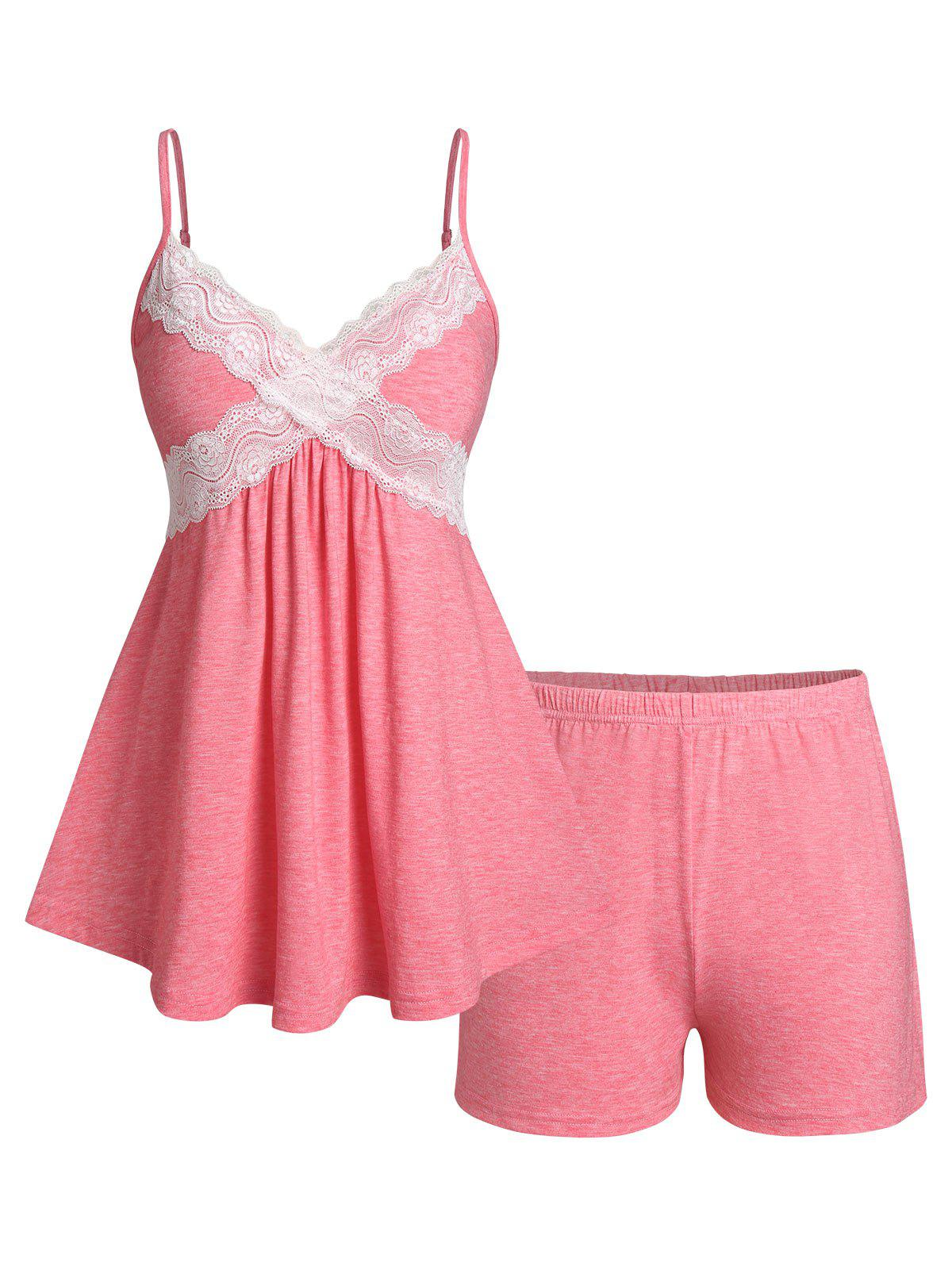Affordable Plus Size Lace Panel Pajama Cami Skirted Top and Shorts Set