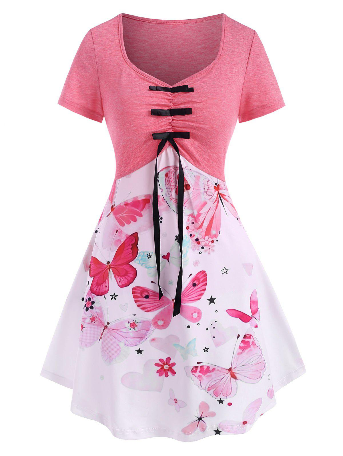 Outfit Flower Butterfly Heart Print Ruched Bowknot T Shirt