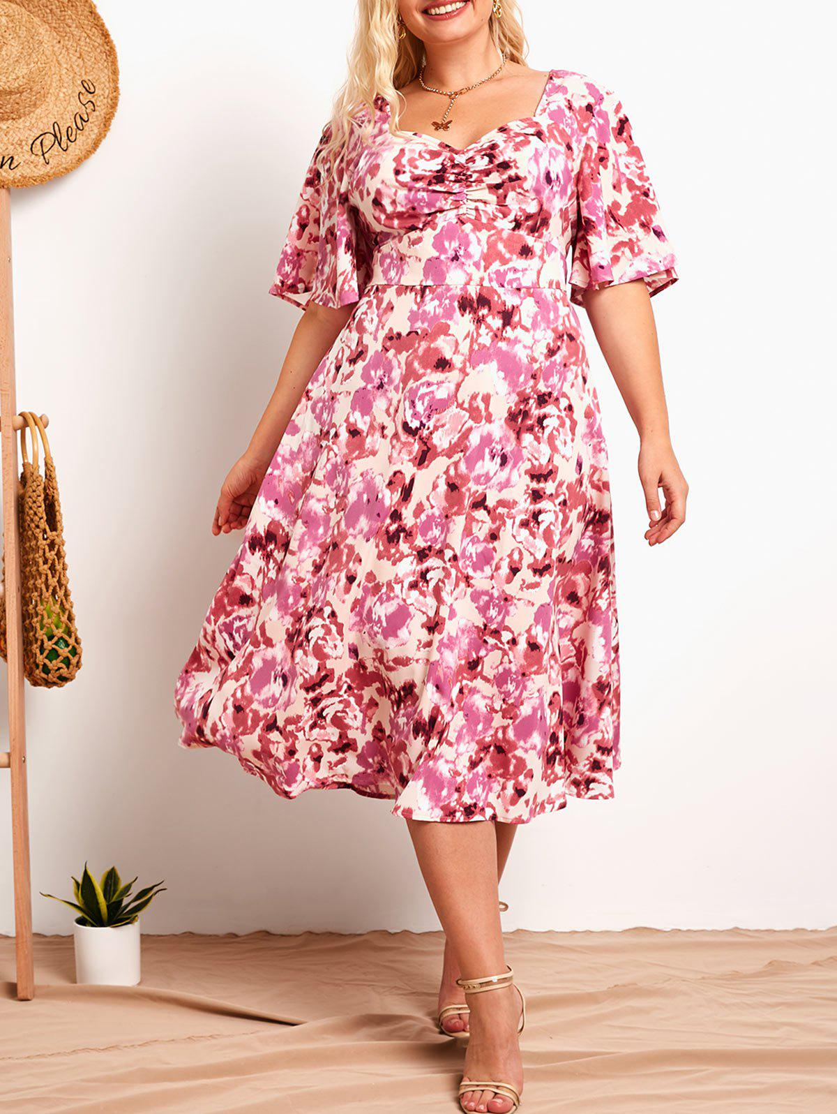 Affordable Plus Size Flower Print Ruched Empire Waist Dress