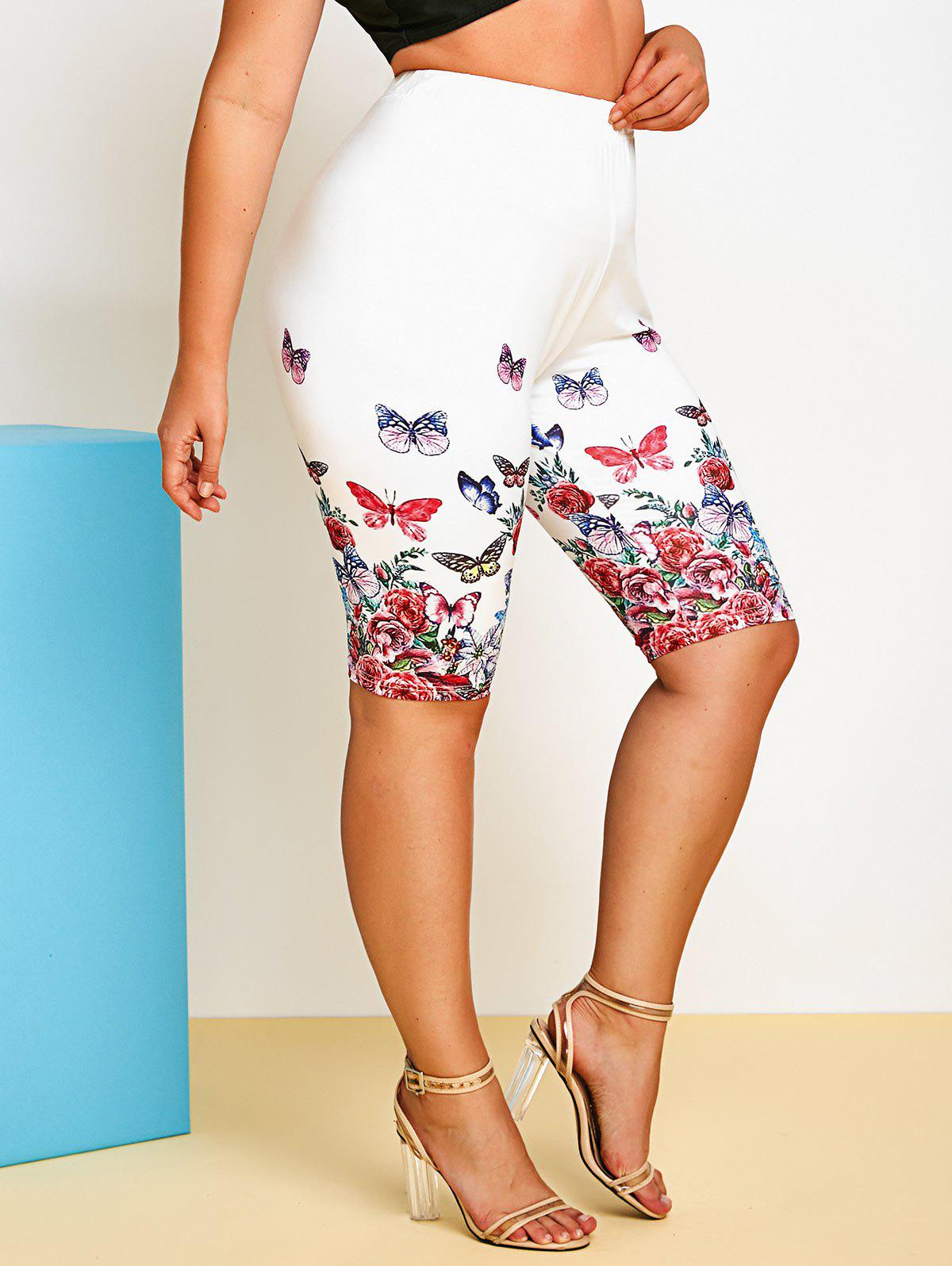 Outfits Plus Size Flower Butterfly Print Knee Length Leggings