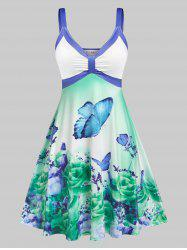 Plus Size Sleeveless Floral Butterfly Print Knee Length Dress -