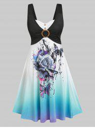 Ombre Color Floral Butterfly Print Dress -
