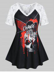 Plus Size Lace Sheer Skull Print Skirted Tunic Tee -