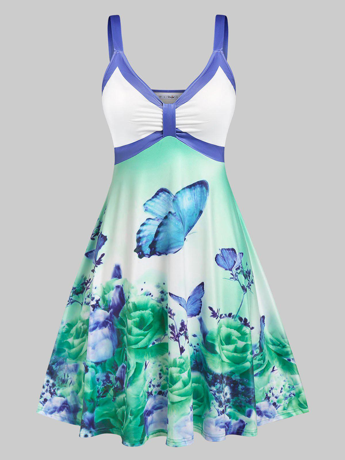 Hot Plus Size Sleeveless Floral Butterfly Print Knee Length Dress