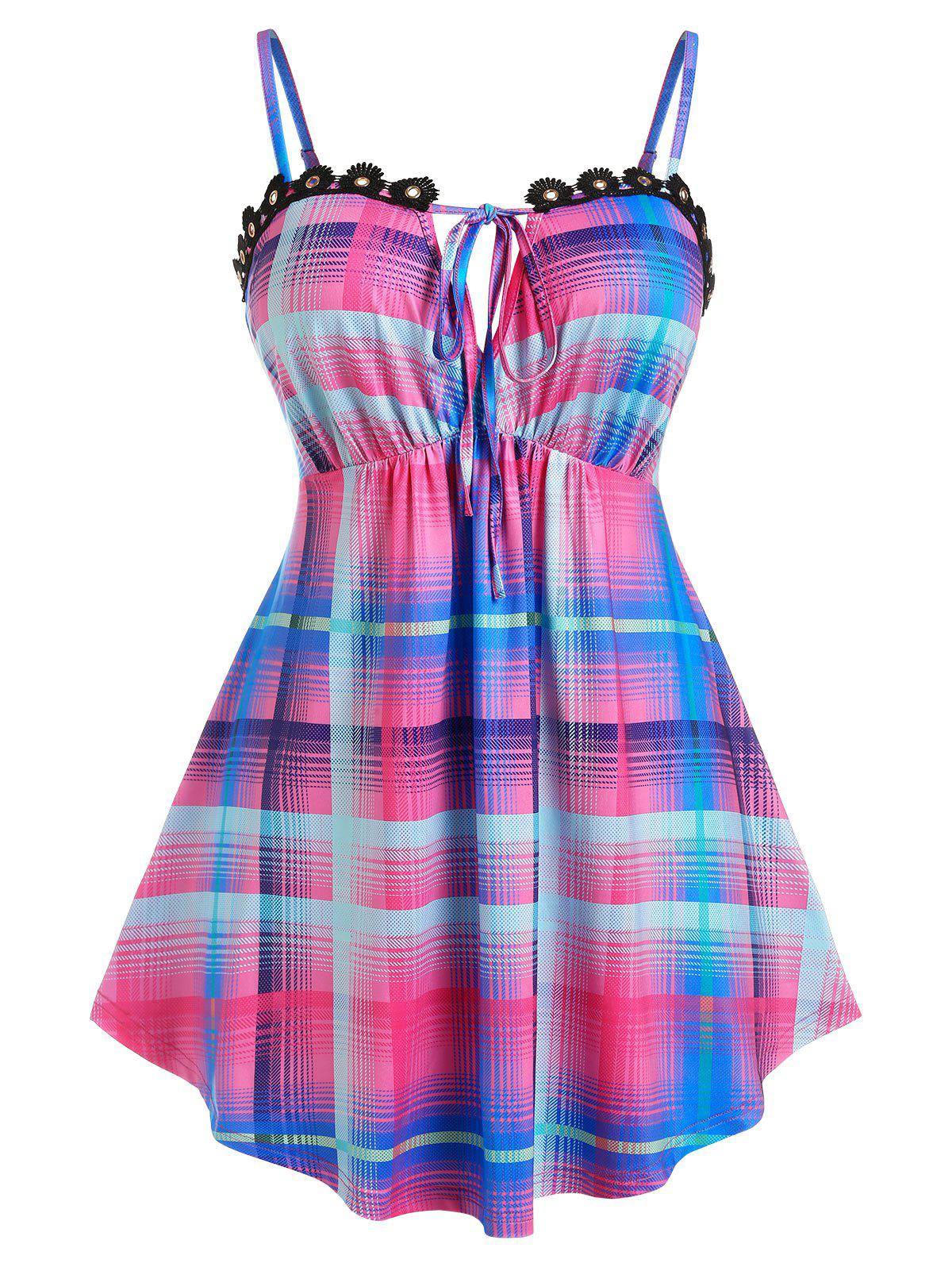 Store Plus Size Plaid Tied Applique Panel Skirted Cami Top