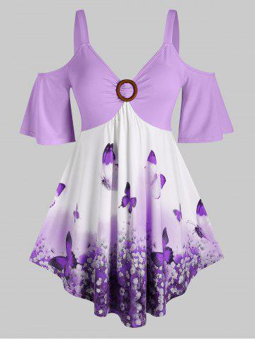 Plus Size Butterfly Floral Cold Shoulder Tunic Tee - LIGHT PURPLE - 5X