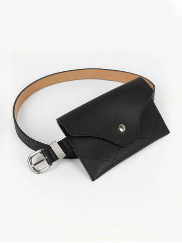 Minimalistic Buckle Belt With Bag - BLACK