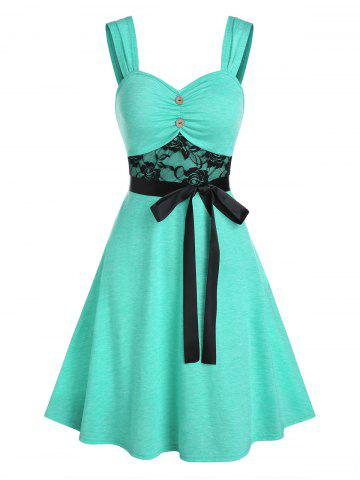 Lace Insert Mock Button Belted Dress