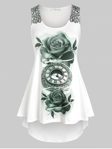 Plus Size Floral Printed High Low Tank Top - WHITE - 4X