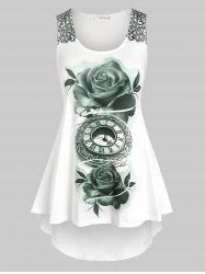 Plus Size Floral Printed High Low Tank Top -