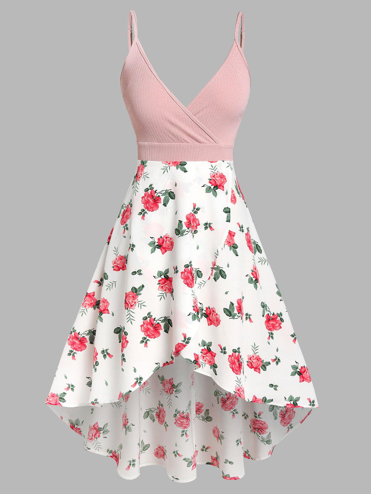 Affordable Floral Print Mixed Media High Low Dress