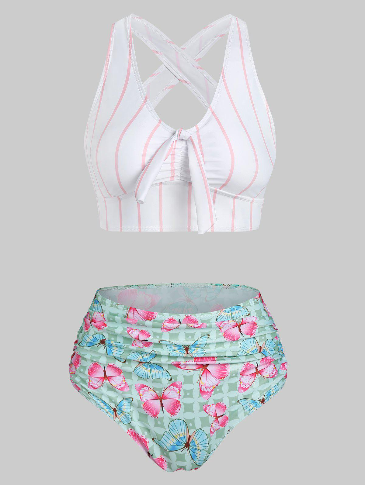 Affordable Stripes Butterfly Print Cut Out Padded Bikini Set