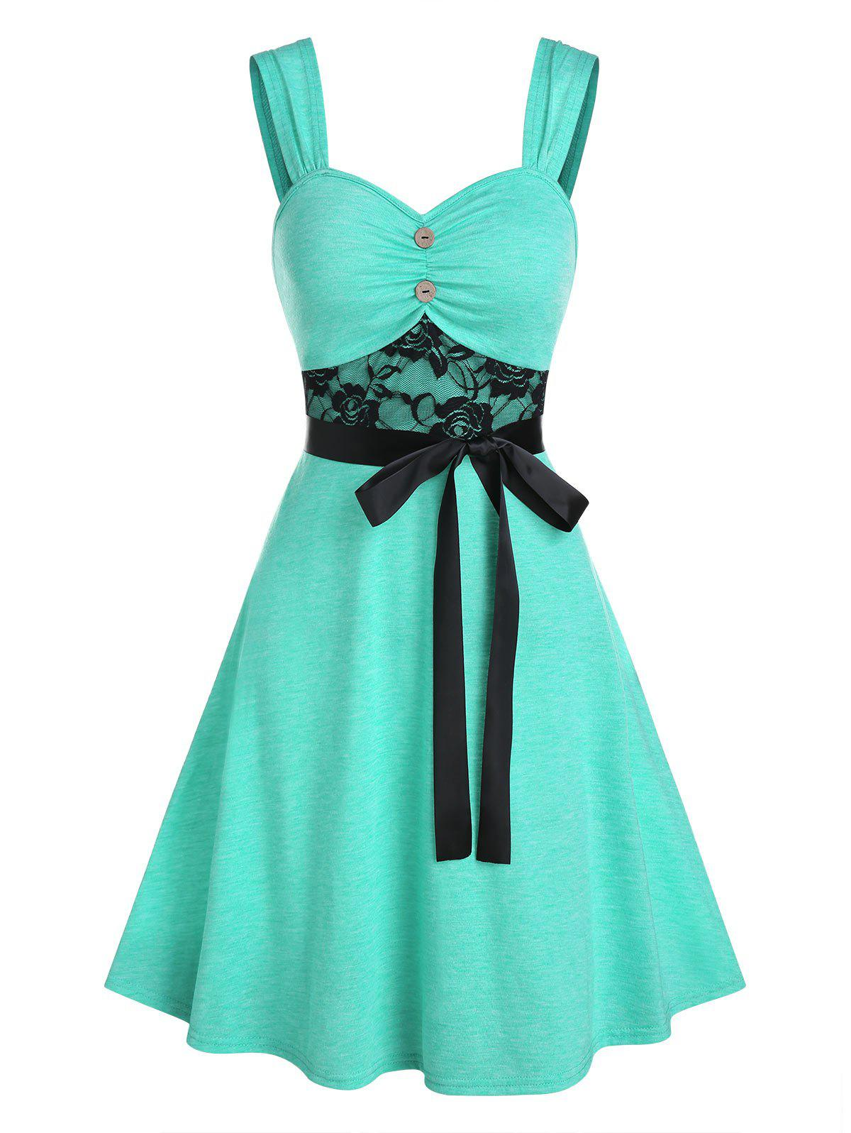 Trendy Lace Insert Mock Button Belted Dress