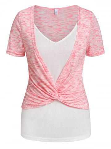 Twist Front Space Dye Print Faux Twinset T-shirt