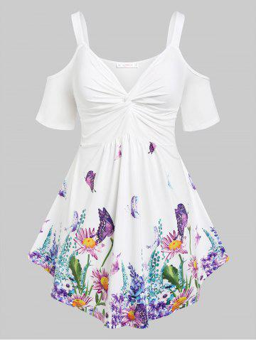 Plus Size Butterfly Flower Print Cold Shoulder Twisted T Shirt