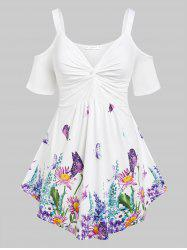 Plus Size Butterfly Flower Print Cold Shoulder Twisted T Shirt -
