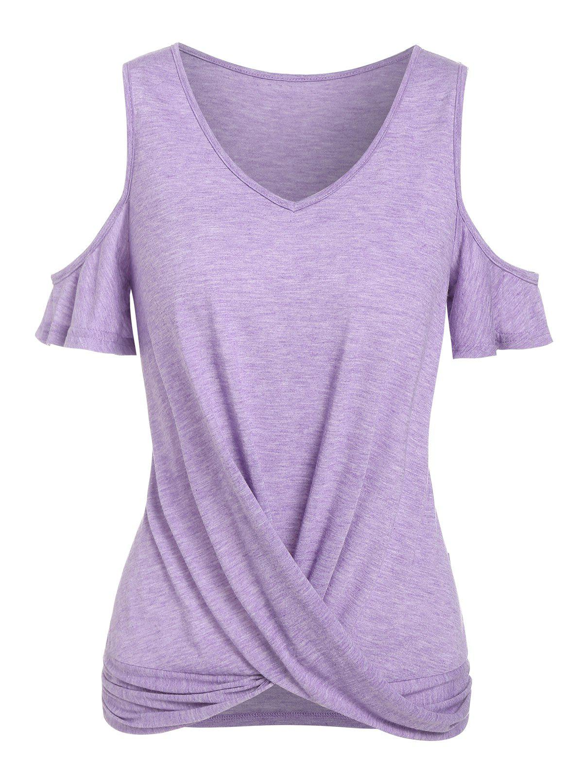 Cheap Cold Shoulder Heathered Twist Front T-shirt