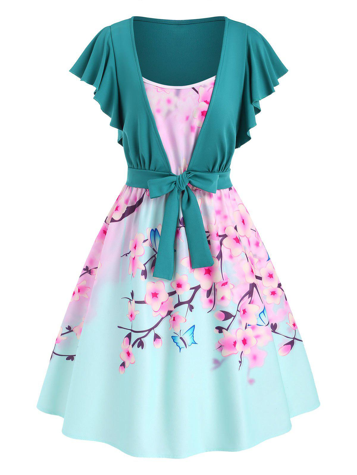 Discount Cami Flower Butterfly Print Dress with Tie Front T Shirt
