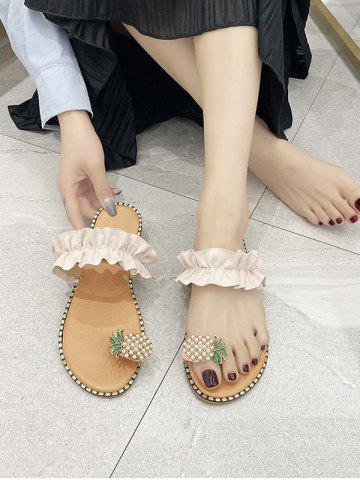 Pineapple Toe Loop Ruffles Flat Slides Sandals