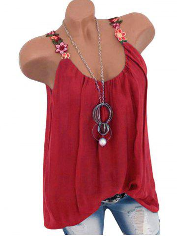 Flower Embroidered Casual Tank Top - RED - L