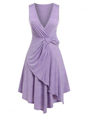 Plus Size Knotted Plunging Asymmetrical Dress - PURPLE - 3X