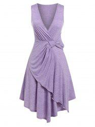 Plus Size Knotted Plunging Asymmetrical Dress -