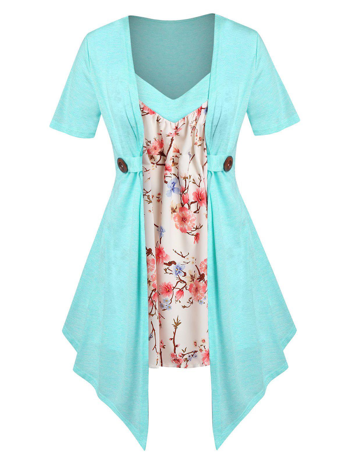 Trendy Plus Size Faux Twinset Floral Print Irregular Tee