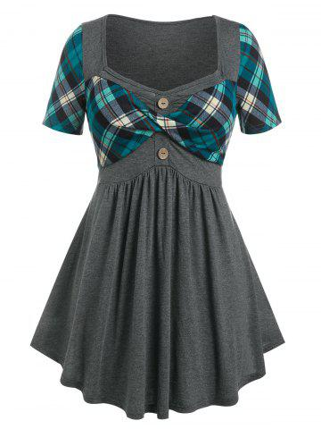 Plus Size Plaid Print Twist Front Curved Hem T-shirt - DEEP GREEN - 1X