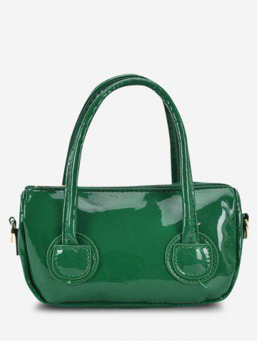 Faux Patent Leather Dual Handle Crossbody Bag - DEEP GREEN