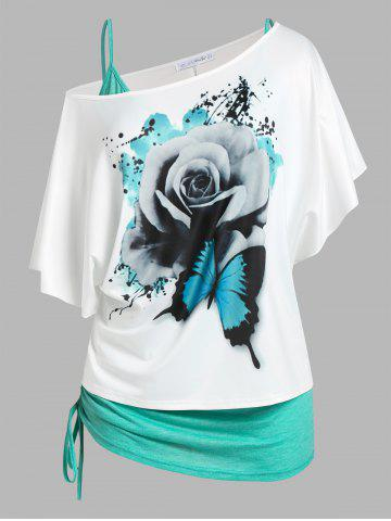 Plus Size Skew Neck Floral Butterfly Print Tee and Cinched Tank Top Set - GREEN - 1X