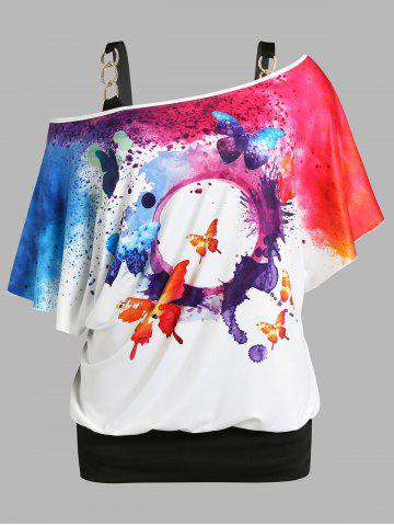 Plus Size Butterfly Splatter Paint Print Skew Neck Tee and Tank Top Set
