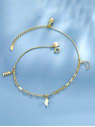 Fishbone Moon Bell Charm Anklet -