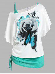 Plus Size Skew Neck Floral Butterfly Print Tee and Cinched Tank Top Set -