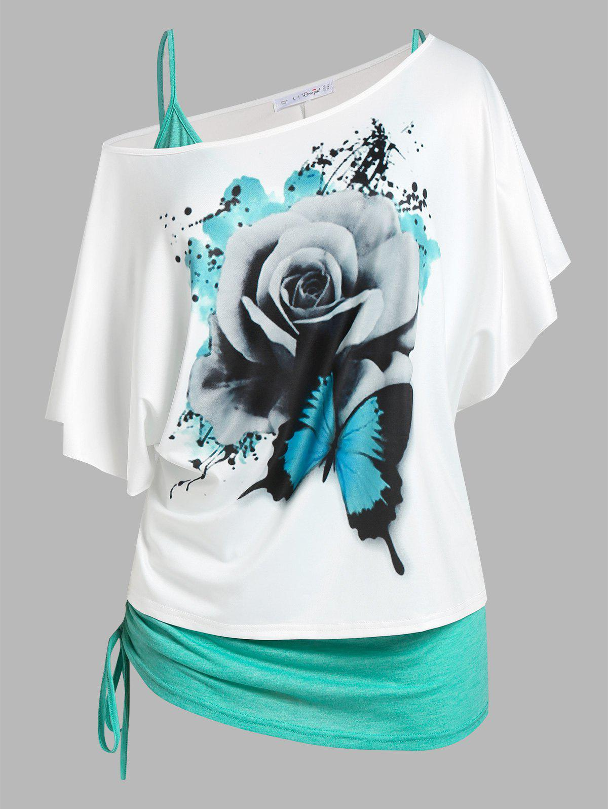 Affordable Plus Size Skew Neck Floral Butterfly Print Tee and Cinched Tank Top Set