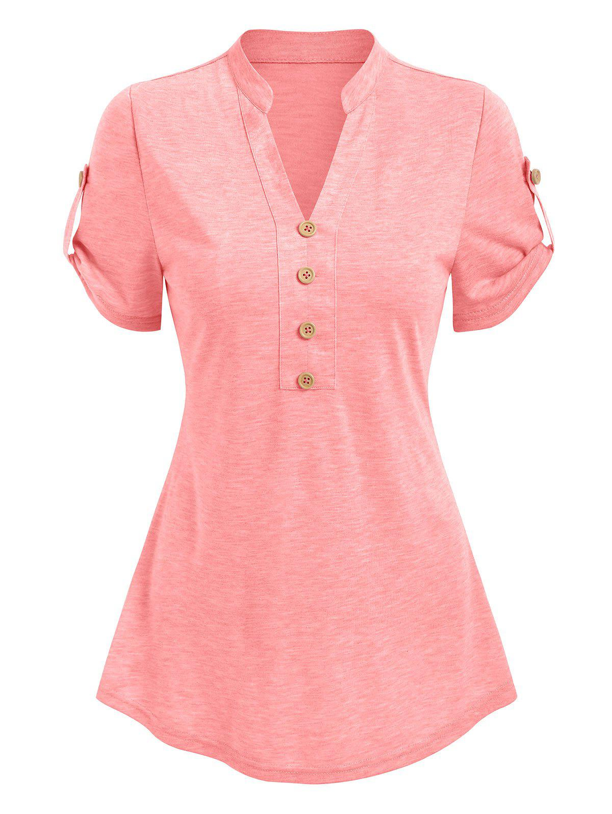 Outfits Short Sleeve Mock Button Heathered T-shirt