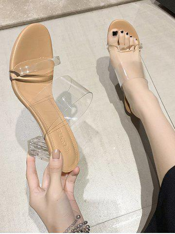 Chunky Heel Transparent Strap Slides Sandals