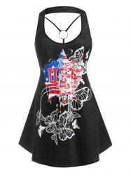 Plus Size O Ring Butterfly American Flag Print Flowy Tank Top -