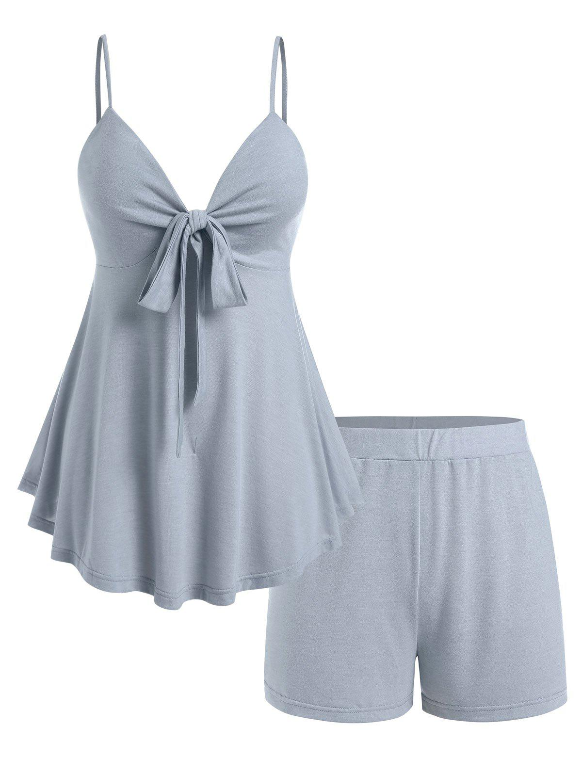 Best Plus Size Front Knot Top and Shorts Pajamas Set