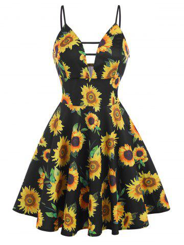 Sunflower Plunge Front Empire Waist Dress