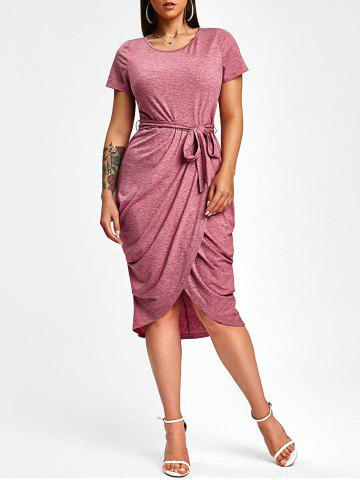 Belted Draped Midi Bodycon Dress