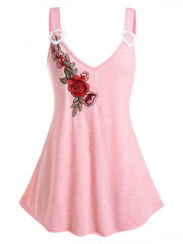 Plus Size Flower Applique Plunge Backless Tunic Tank Top - LIGHT PINK - 4X