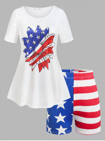 Plus Size American Flag Print Patriotic Two Piece Shorts Set