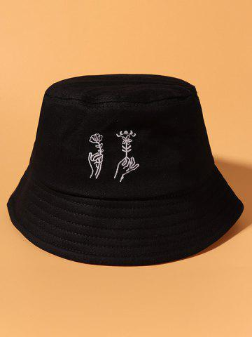 Hand Holding Flower Embroidery Bucket Hat