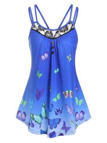 Lace Panel Butterfly Print Tank Top